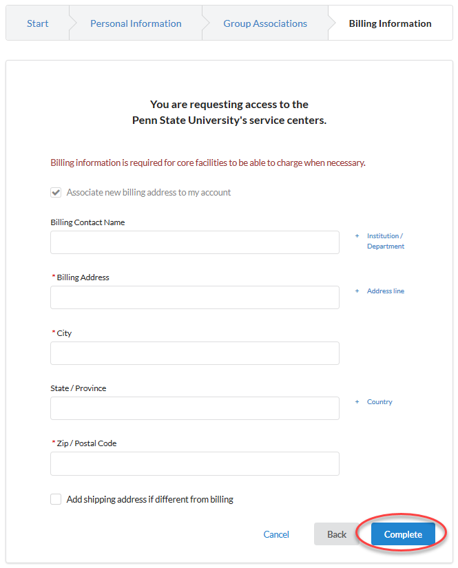 The required fields are billing contact name, billing address, city, state/province, zip/postal code. Check the shipping checkbox to enter a different shipping address.