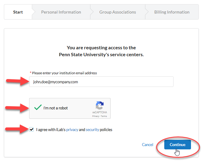 Screenshot highlighting the email field, robot checkbox field, and the agreement with iLab's privacy policy field. The Continue button is in the lower right corner.
