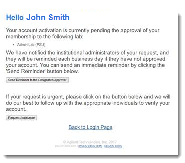 Image of the email stating that your account activation is pending approval.