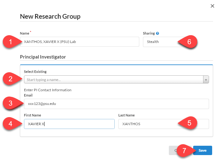Image highlighting all fields in the New Research Group popup window