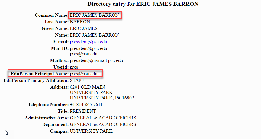 Results from Directory Search for Eric Barron, PSU's president in 2018