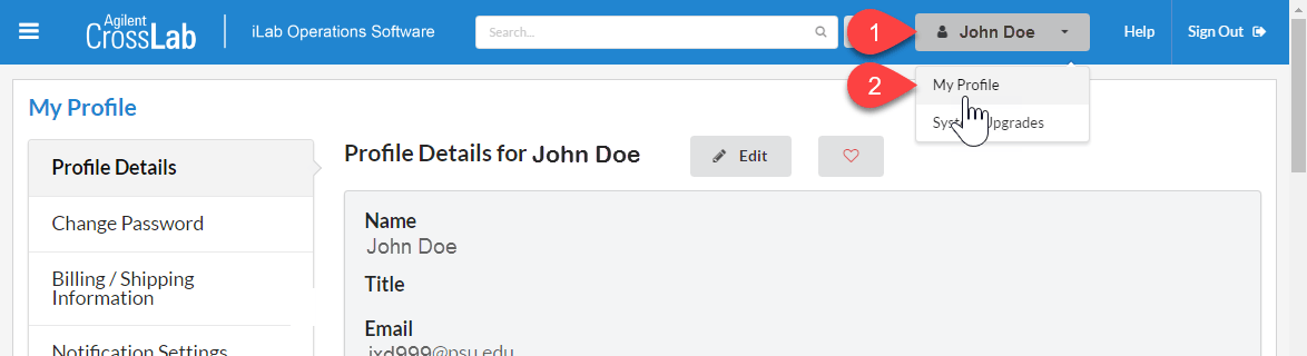 Click your name in the upper right corner. A drop down menu will appear. Select My Profile to bring up settings page.